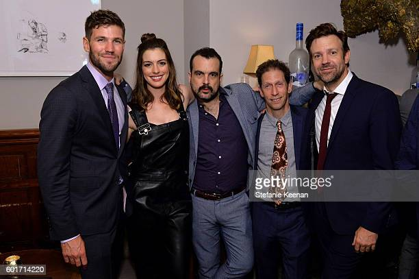 Actors Austin Stowell Anne Hathaway director Nacho Vigalondo actors Tim Blake Nelson and Jason Sudeikis at the Colossal TIFF party hosted by GREY...