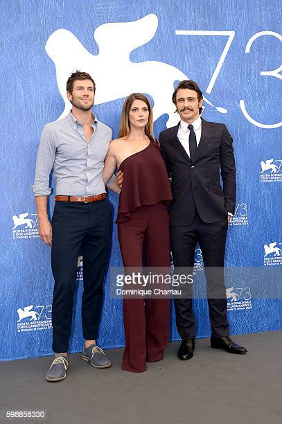 Actors Austin Stowell Ashley Greene and director James Franco attend the photocall of 'In Dubious Battle' during the 73rd Venice Film Festival at...