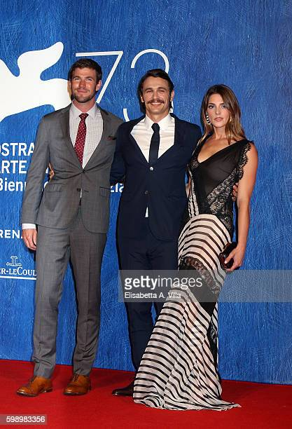 Actors Austin Stowell James Franco and Ashley Greene attend the premiere of 'In Dubious Battle' during the 73rd Venice Film Festival at Sala Giardino...