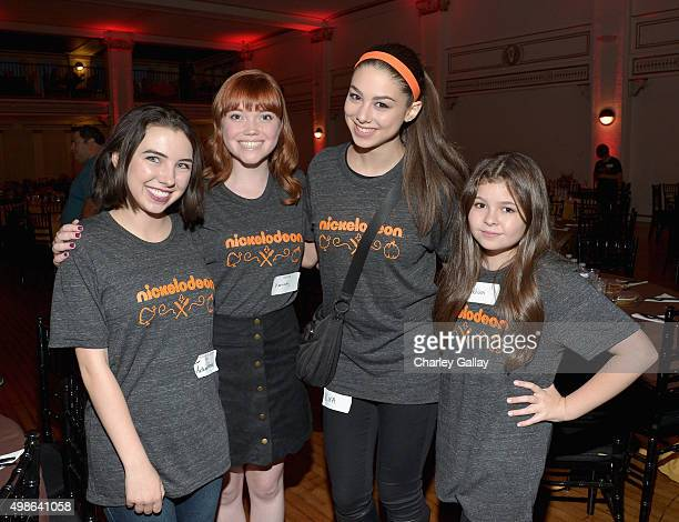 Actors Autumn Wendel Kennedy Lea Slocum Kira Kosarin and Addison Riecke attend 'The Salvation Army's Feast Of Sharing Holiday Dinner' presented by...