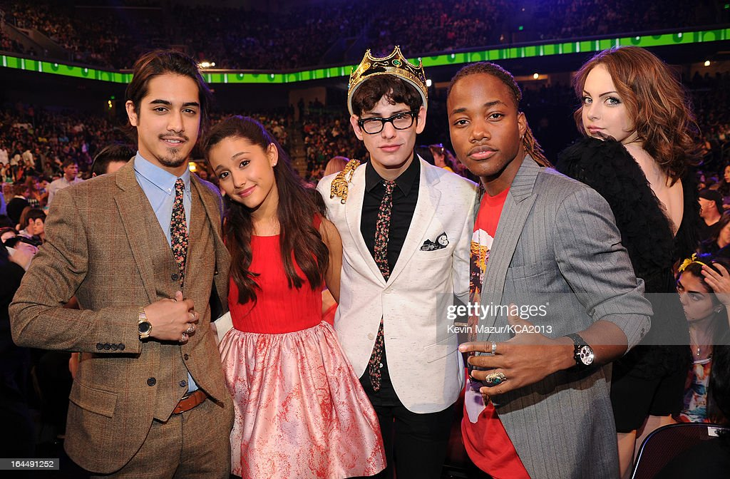 Actors Avan Jogia, Ariana Grande, Matt Bennett, Leon Thomas III and Elizabeth Gillies attend Nickelodeon's 26th Annual Kids' Choice Awards at USC Galen Center on March 23, 2013 in Los Angeles, California.