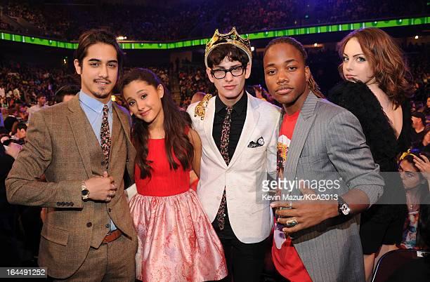 Actors Avan Jogia, Ariana Grande, Matt Bennett, Leon Thomas III and Elizabeth Gillies attend Nickelodeon's 26th Annual Kids' Choice Awards at USC...