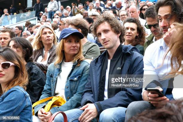 Actors Axelle Laffont and Baptiste Lecaplain attend the 2018 French Open Day Ten at Roland Garros on June 5 2018 in Paris France