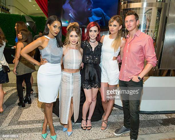Actors Azie Tesfai Olesya Rulin Lily Collins Riley Voelkel and Justice Leak attend the Sony Pictures Television Social Soiree Featuring Amazon Pilots...