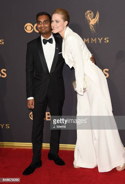 Actors Aziz Ansari and Evan Rachel Wood attend the 69th Annual Primetime Emmy Awards at Microsoft Theater on September 17 2017 in Los Angeles...