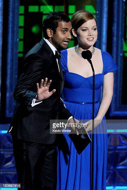 Actors Aziz Ansari and Jane Levy speak onstage during the 64th Annual Primetime Emmy Awards at Nokia Theatre LA Live on September 23 2012 in Los...