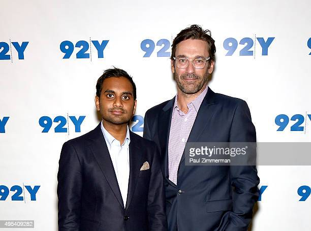 Actors Aziz Ansari and Jon Hamm attend Aziz Ansari: 'Master Of None' screening and conversation at 92nd Street Y on November 2, 2015 in New York City.