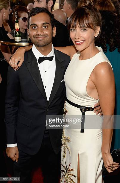 Actors Aziz Ansari and Rashida Jones attend the 71st Annual Golden Globe Awards with Moet Chandon held at the Beverly Hilton Hotel on January 12 2014...