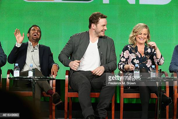 Actors Aziz Ansari Chris Pratt and Amy Poehler speak onstage during the 'Parks and Recreation' panel discussion at the NBC/Universal portion of the...