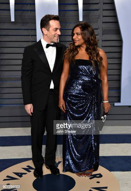 Actors B. J. Novak and Mindy Kaling attend the 2018 Vanity Fair Oscar Party hosted by Radhika Jones at Wallis Annenberg Center for the Performing...