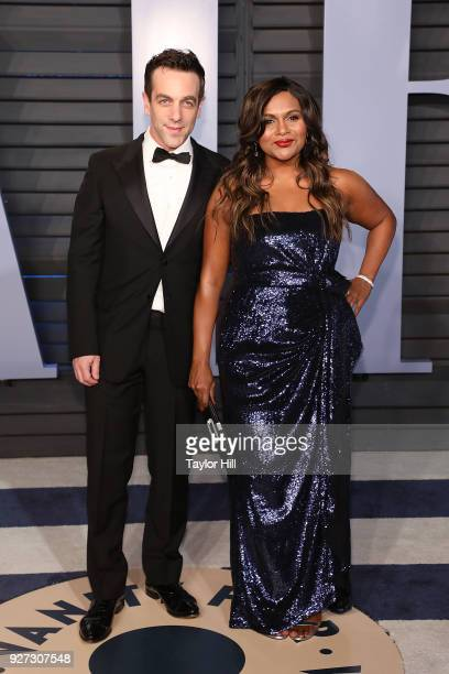 Actors B J Novak and Mindy Kaling attend the 2018 Vanity Fair Oscar Party hosted by Radhika Jones at Wallis Annenberg Center for the Performing Arts...