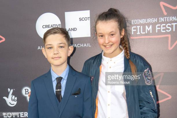 Actors Badger Skelton and Bella Ramsey attend a photocall for the World Premiere of 'Two for joy' during the 72nd Edinburgh International Film...