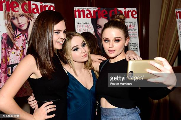 Actors Bailee Madison Sabrina Carpenter and Joey King attend the 'Fresh Faces' party hosted by Marie Claire celebrating the May issue cover stars on...