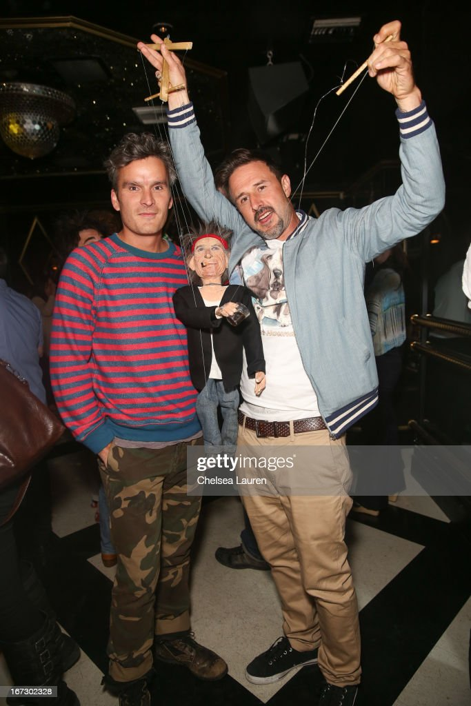Actors Balthazar Getty (L) and David Arquette attend the Balthazar Getty record release party for 'Solardrive' and launch of new record label Purplehaus at Bootsy Bellows on April 23, 2013 in West Hollywood, California.