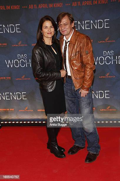 Actors Barbara Auer and Sylvester Groth attend the 'Das Wochenende' premiere at Kino International on April 4, 2013 in Berlin, Germany.