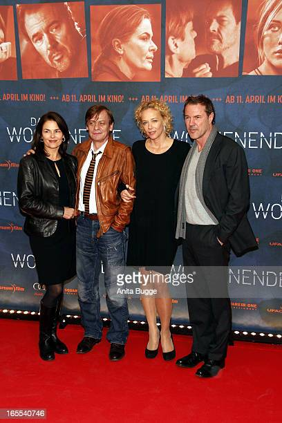 Actors Barbara Auer, Sylvester Groth, Katja Riemann and Sebastian Koch attend the 'Das Wochenende' premiere at Kino International on April 4, 2013 in...