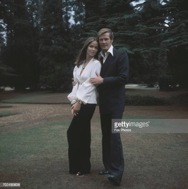 Actors Barbara Bach and Roger Moore stars of the James Bond film 'The Spy Who Loved Me' Pinewood UK 1977