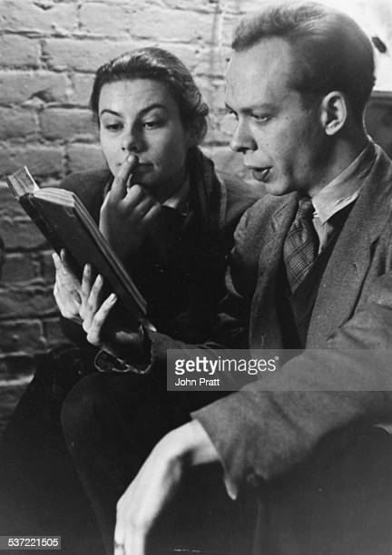 Actors Barbara Brown and Brian Murphy reading through a script together during rehearsals at the Old Vic now the Theatre Royal London circa 1960
