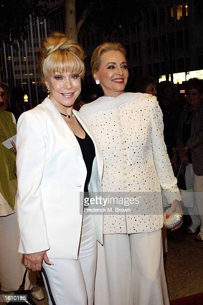 """Actors Barbara Eden and Anne Jeffreys attend opening night of the play """"Kiss Me Kate"""" at the Shubert Theatre August 24, 2001 in Los Angeles, CA."""