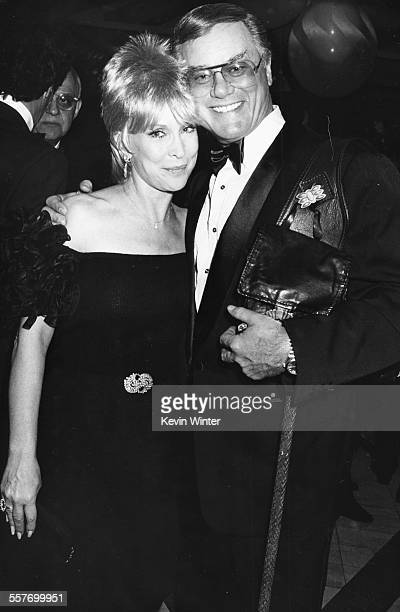 Actors Barbara Eden and Larry Hagman stars of the television show 'I Dream of Genie' attending a charity benefit at Spago's restaurant Los Angeles...