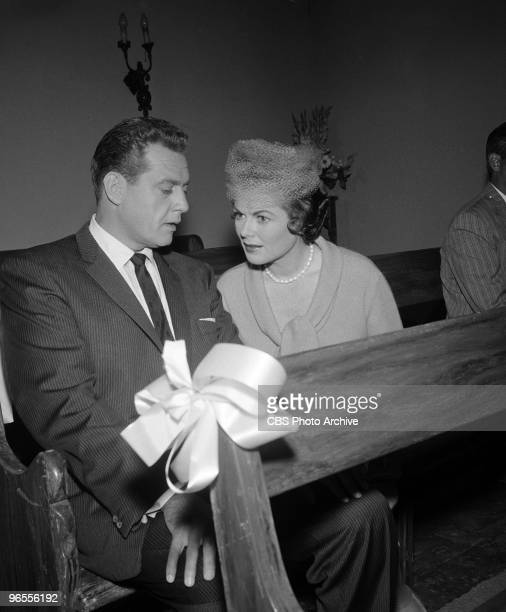 Actors Barbara Hale as Della Street and Raymond Burr as Perry Mason perform in a scene from an episode of the TV series 'Perry Mason' entitled The...
