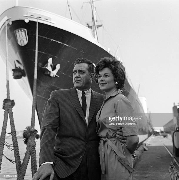 Actors Barbara Hale as Della Street and Raymond Burr as Perry Mason perform in a scene from an episode of the TV series Perry Mason entitled The Case...