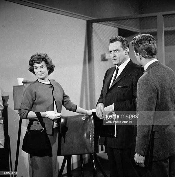 Actors Barbara Hale as Della Street Raymond Burr as Perry Mason and Karl Held as David Gideon perform in scene a from an episode of the TV series...