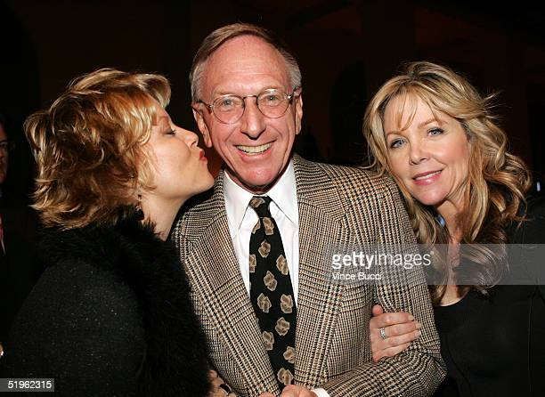 Actors Barbara Niven and Lisa Hartman Black pose with Hallmark Channel executive David Kenin at the Hallmark Channel's TCA Press Tour party on...