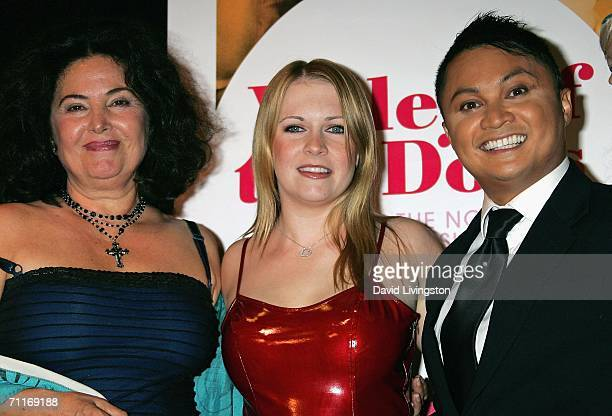Actors Barbara Parkins Melissa Joan Hart and Alec Mapa pose at an allstar reading of Valley of the Dolls in celebration of the DVD release of the...