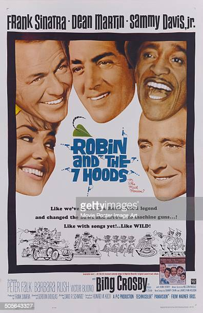 Actors Barbara Rush Frank Sinatra Dean Martin Sammy Davis Jr and Bing Crosby feature on the poster for the movie 'Robin and the 7 Hoods' 1964