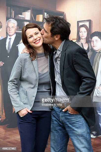 Actors Barbora Bobulova and Adriano Giannini attend a photocall for 'In Treatment Season 2' at Villa Borghese on November 20 2015 in Rome Italy