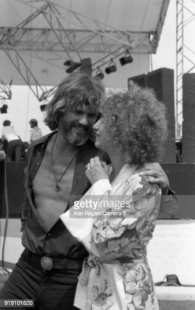 Actors Barbra Streisand and Kris Kristopherson are photographed on the set of 'A Star is Born' in 1976 at Sun Devil Stadium in Tempe Arizona CREDIT...