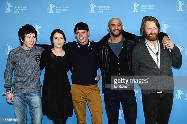 Actors Barry Keoghan Charlie Murphy Jack O'Connell director Yann Demange and actor David Wilmot attend the '71' photocall during the 64th Berlinale...