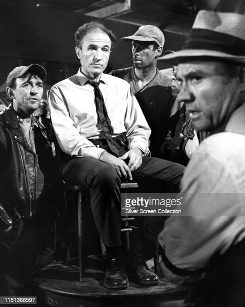 Actors Barry Morse Bruce Dern and R G Armstrong in 'Corner of Hell' an episode of the television series 'The Fugitive' 1965