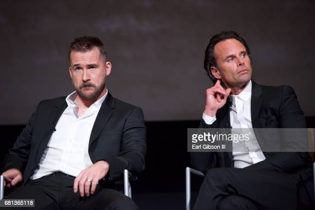 Actors Barry Sloane and Walton Goggins speak onstage at the FYC Event for HISTORY's SIX at Wolf Theatre on May 9 2017 in North Hollywood California
