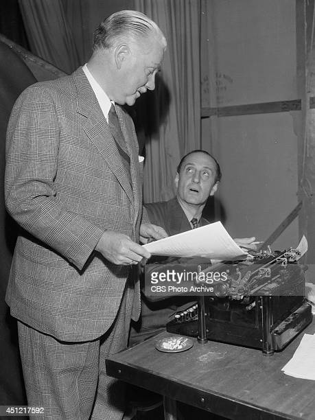 Actors Basil Rathbone and Nigel Bruce appear on the CBS radio program 'REQUEST PERFORMANCE' in November 1945 in Los Angeles California