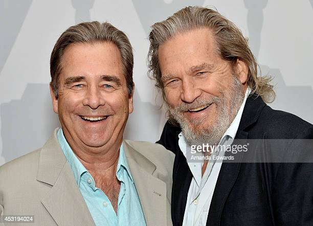 Actors Beau Bridges and Jeff Bridges attend The Academy Presents 'Beau And Jeff A Tale Of Two Bridges' event at the Bing Theatre at LACMA on August 4...