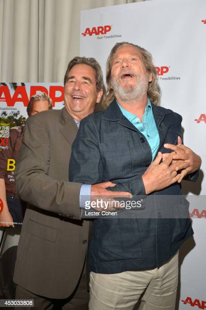 Actors Beau Bridges and Jeff Bridges attend the Jeff Bridges lunch hosted by AARP The Magazine at Spago on August 1 2014 in Beverly Hills California