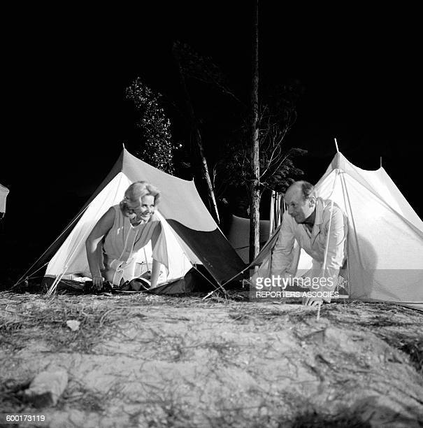 Actors Beba Loncar and Bourvil On the Set Of the Movie 'Le Corniaud' Directed By Gérard Oury in France in 1964