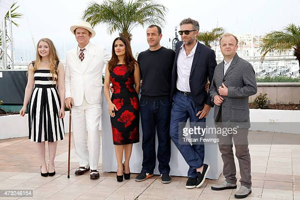 Actors Bebe Cave John C Reilly Salma Hayek director Matteo Garrone actors Vincent Cassel and Toby Jones attend a photocall for Il Racconto Dei...