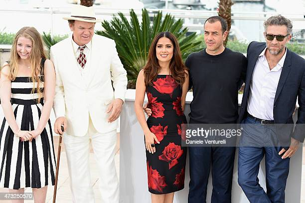 Actors Bebe Cave John C Reilly Salma Hayek director Matteo Garrone actors Vincent Cassel attend the Il Racconto Dei Racconti Photocall during the...