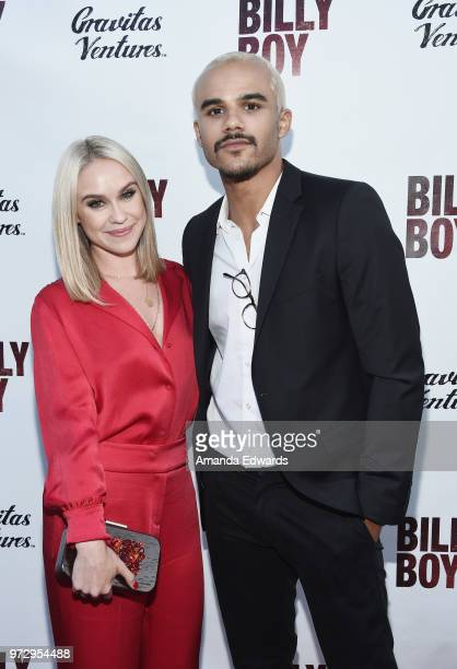 Actors Becca Tobin and Jacob Artist arrive at the Los Angeles premiere of 'Billy Boy' at the Laemmle Music Hall on June 12 2018 in Beverly Hills...