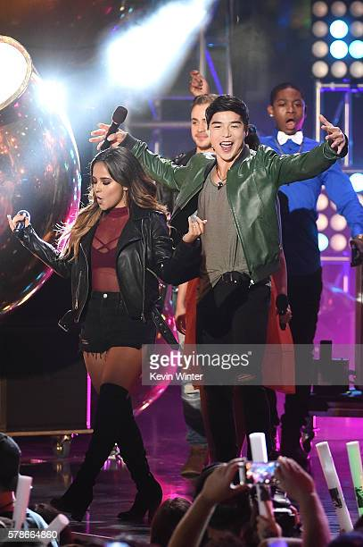 Actors Becky G Dacre Montgomery Ludi Lin and RJ Cyler speak onstage at the MTV Fandom Awards San Diego at PETCO Park on July 21 2016 in San Diego...
