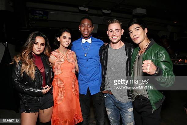 Actors Becky G Naomi Scott RJ Cyler Dacre Montgomery and Ludi Lin attends the MTV Fandom Awards San Diego at PETCO Park on July 21 2016 in San Diego...