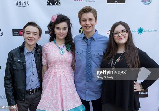 Actors Bejamin Stockham Merit Leighton Jacob Hopkins and Marlowe Peyton arrive for the Breaking The Chains Foundation And Glitter Magazine First...