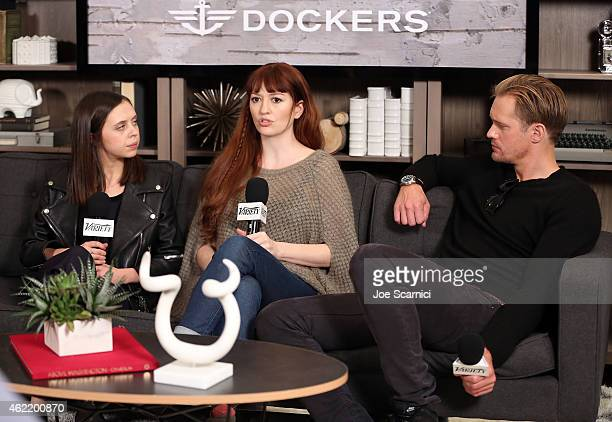 Actors Bel Powley and Alexander Skarsgard and director Marielle Heller speak at The Variety Studio At Sundance Presented By Dockers on January 25...