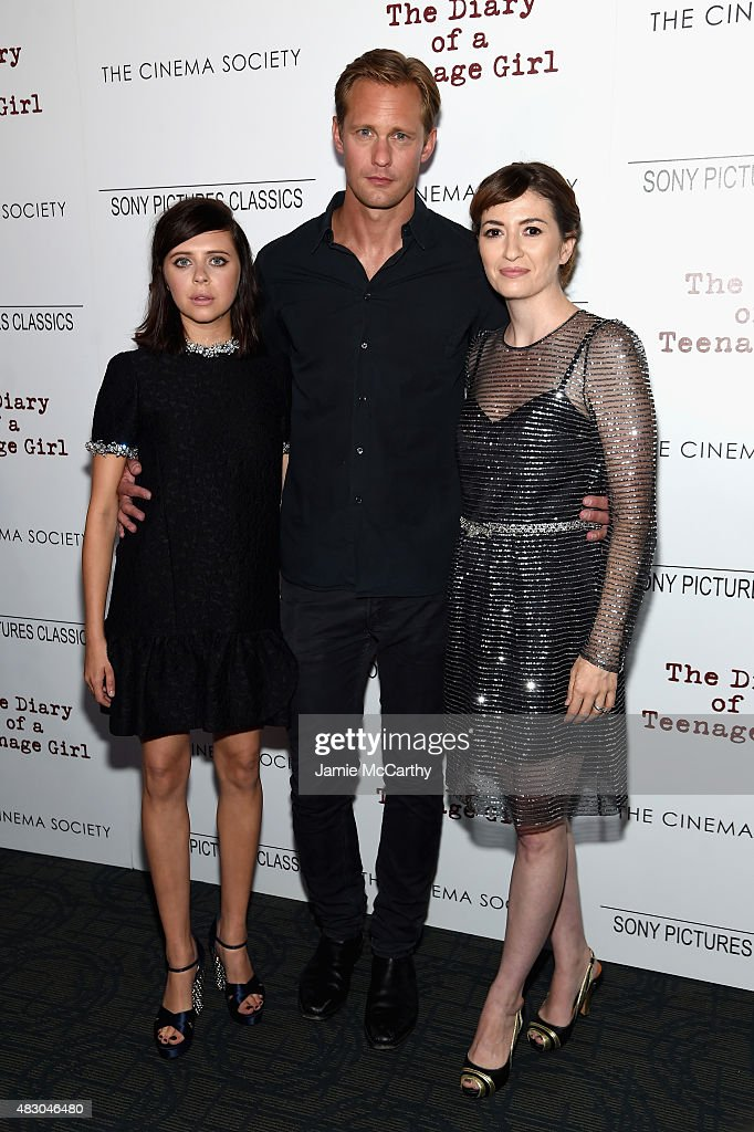 Actors Bel Powley and Alexander Skarsgard and director Marielle Heller attend the screening of Sony Pictures Classics 'The Diary Of A Teenage Girl' hosted by The Cinema Society at Landmark Sunshine Cinema on August 5, 2015 in New York City.