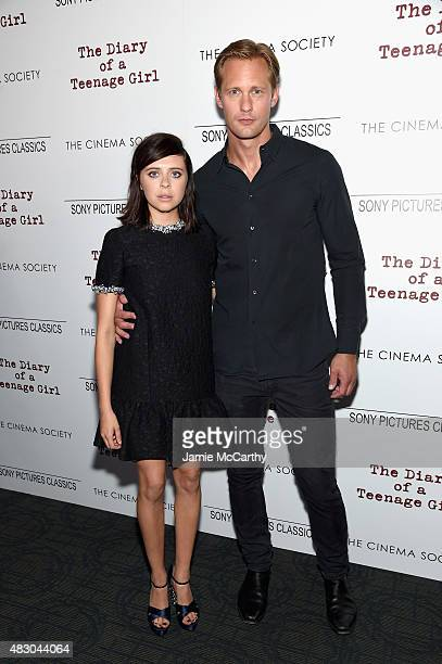 Actors Bel Powley and Alexander Skarsgard attend the screening of Sony Pictures Classics The Diary Of A Teenage Girl hosted by The Cinema Society at...