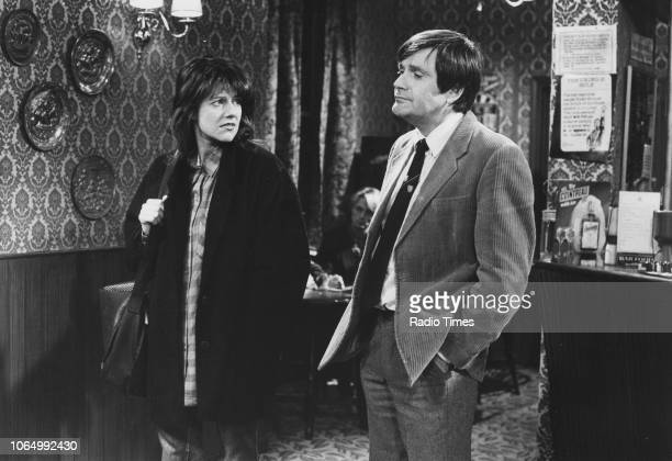 Actors Belinda Lang and Ralph Bates in a scene from series 2 of the television sitcom 'Dear John' November 2nd 1985