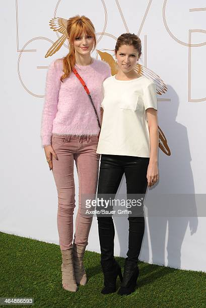 Actors Bella Thorne and Anna Kendrick attend a celebration of Gold and Glamour hosted by LoveGold at Chateau Marmont on January 9 2014 in Los Angeles...